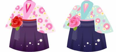 袴セット(花付) 2色