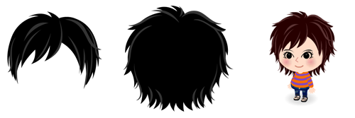 前髪 シャギー1&外ハネミディアム1