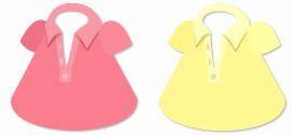 ポロシャツ(襟開き)ピンク&黄色