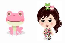 頭のせカエル(ピンク)