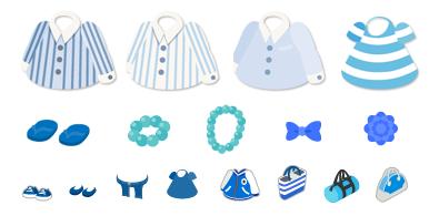 青色のアイテム例