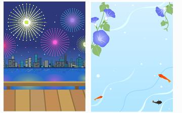 花火大会&朝顔と金魚