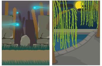 夜の墓地&柳の木