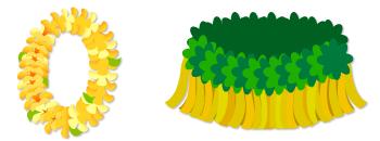 ハワイアンレイ 黄色&フラダンス腰ミノ