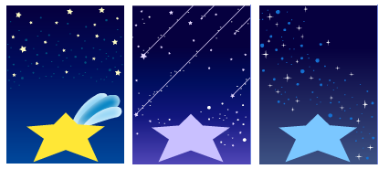 宇宙スター イエロー&パープル&ブルー
