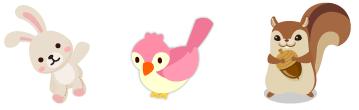 ウサギのぬいぐるみ&手乗り小鳥 ピンク&頭のせリス