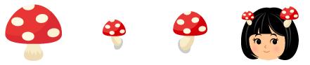 キノコ 赤&Wキノコ 赤