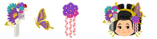 花魁髪飾り 花(右)&花魁髪飾り 蝶(左)&花魁髪飾り 藤(左)