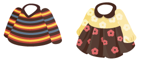 三色ボーダーセーター、長袖丸襟ワンピ 茶