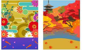 背景:花魁風和柄、紅葉の京都