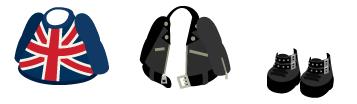 ユニオンジャックセーター、革ジャン 黒、ロックブーツ