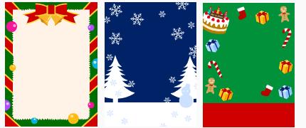 クリスマス リース&雪空&プレゼント