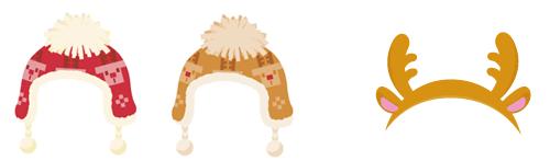 耳当て付きニット帽 2色&トナカイカチューシャ