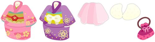 着物 ピンク&着物 紫&羽織 薄ピンク&ファーショール&巾着 ピンク
