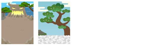 背景:鬼ヶ島、松の木