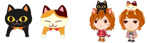頭のせ黒猫&頭のせ三毛猫