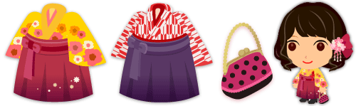 袴セット 花柄 黄&袴セット 矢絣 紅&和風がま口バッグ 紅
