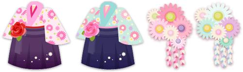 袴セット(花付)2種&和風花髪飾り2種