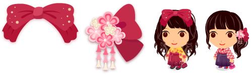 和風リボン髪飾り 紅&和風髪飾り 小花 紅
