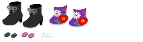 編み上げブーツ 黒&花柄足袋 紫、ぞうり2種、足袋 白
