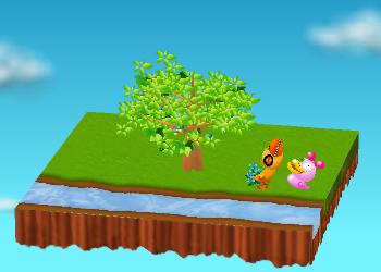 がーがーちゃんが、おいしい植物をたべずにピンクのアヒル人形と遊ぶ