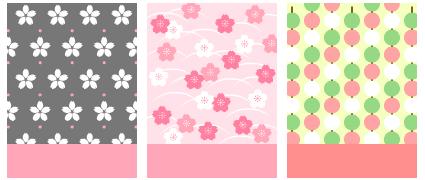 花見 さくらドット & 花見 和風さくら & 花見 三色団子