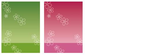 背景:桜文様 緑&桜文様 赤