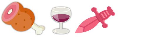 骨つき肉、ワイングラス 赤、おもちゃの短剣