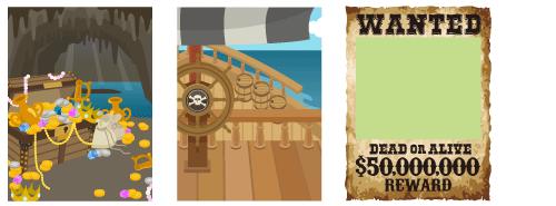 背景:洞窟の財宝・海賊船の甲板、WANTEDフレーム