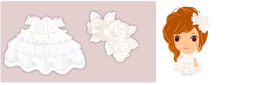 編上ウェディング、バラの髪飾り 白