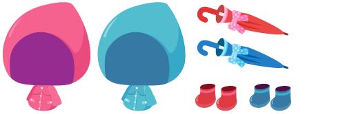 レインコートピンク・レインコート水色、傘(リボン付)赤・青、長靴 赤・青