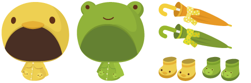 レインコート ぴよ・レインコート ケロ、傘(リボン付)黄・緑、ブーツ ぴよ・ブーツ ケロ