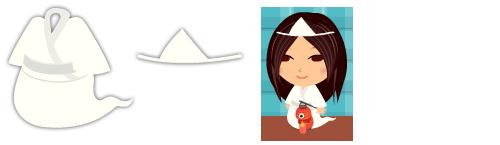 おばけ風白装束、おばけ風三角頭巾