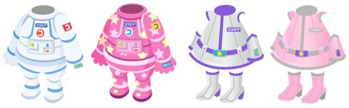 宇宙服 白&(星)ピンク、スペースガール シルバー&ピンク