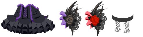 小悪魔ドレス、黒バラの髪飾り 各色、網タイツ