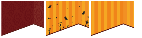 壁紙 ゴシック赤、オレンジハロウィン柄、オレンジストライプ