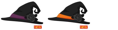 魔女帽子 紫、魔女帽子 オレンジ