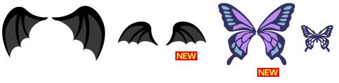 小悪魔の羽、小悪魔の羽ミニ、蝶の羽、フェイスペイント:アゲハ蝶