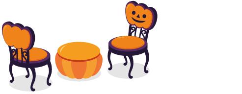 かぼちゃチェア紫:背、かぼちゃ丸テーブル、かぼちゃチェア