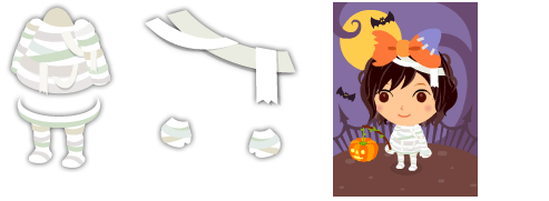 ミイラの包帯シャツ、ミイラの包帯タイツ・ミイラの包帯グローブ、ミイラの包帯