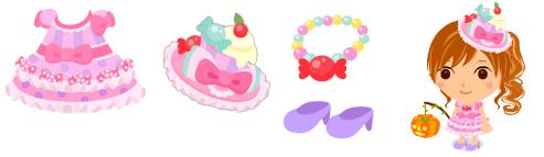キャンディドレス、キャンディ帽、キャンディネックレス、ハイヒール 薄紫
