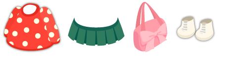 水玉ニット 赤、プリーツスカート グリーン、リボンショルダーバッグ、編み上げロングブーツ 白