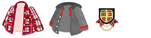 チェックネルシャツ 赤、ニットパーカ グレー、エンブレムブローチ