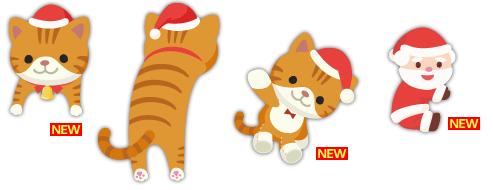 頭のせ猫サンタ帽、猫ぬいぐるみサンタ帽、だっこサンタ