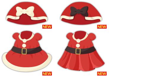 ケープ赤×白、ケープ赤×黒、サンタワンピボア付、サンタワンピプリーツ