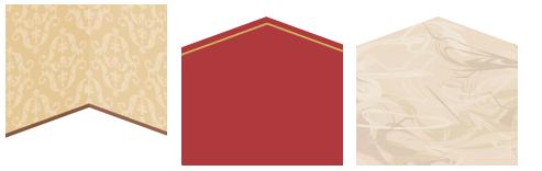 壁紙ゴシック茶、床 赤×ゴールドライン、床 大理石アイボリー