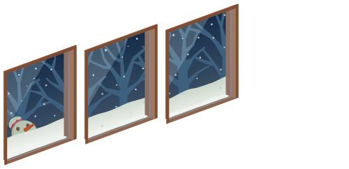 雪空が見える窓[1、2、3]