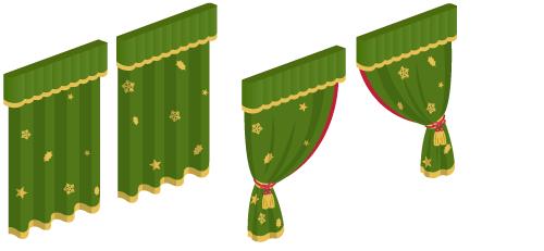 ・カーテン緑×金閉1・カーテン緑×金閉2・カーテン緑×金開1・カーテン緑×金開2