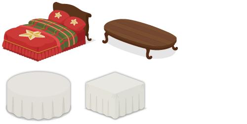 星ベッド赤×緑、ローテーブルロング濃茶、クロス付きテーブル丸、クロス付きテーブル