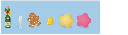シャンパンボトルリボン、シャンパングラス細、ミニジンジャークッキー、ミニベル、星クッション黄、星クッションピンク